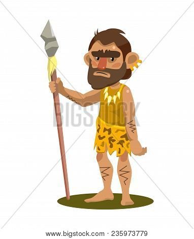 Primitive Man Holding A Spear. Object On White Background. Vector