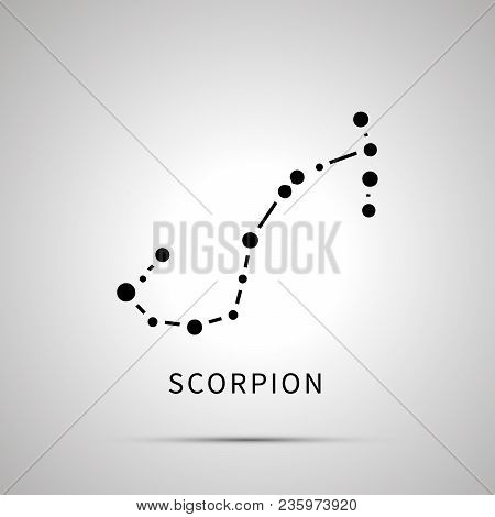 Scorpion Constellation Simple Black Icon With Shadow On Gray