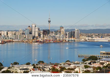 Auckland city skyline in sunrise light