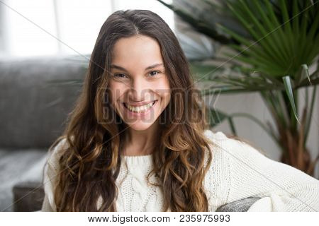 Headshot Portrait Of Mestizo Girl With White Teeth And Wide Toothy Smile, Cheerful Attractive Young