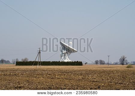 Antenna In The Astronomical Observatory. Space Observation Devices In A Science Center.