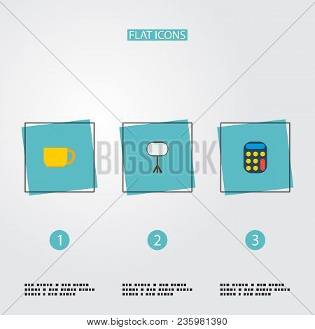 Set Of Bureau Icons Flat Style Symbols With Calculator, Whiteboard, Cup And Other Icons For Your Web