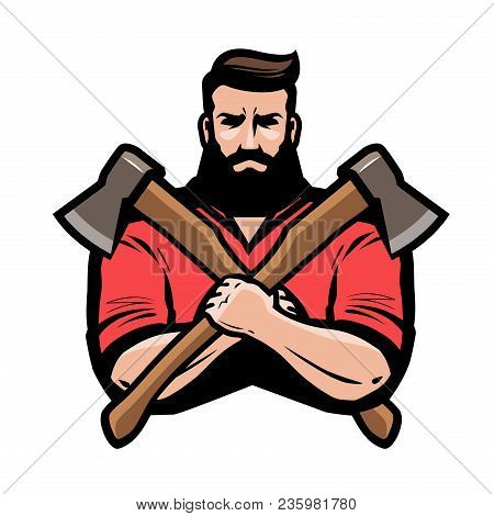 Sawmill, Joinery, Carpentry Logo Or Label. Lumberjack Holds Crossed Axes In Hands. Cartoon Vector