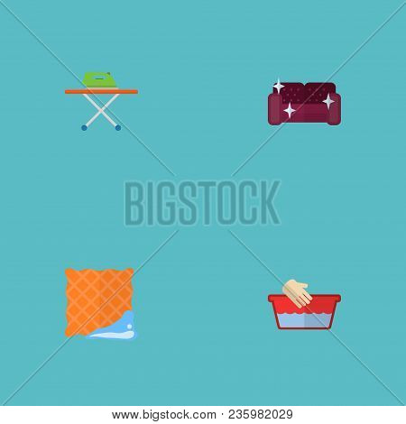 Set Of Cleaning Icons Flat Style Symbols With Furniture, Clean Cloth, Ironing And Other Icons For Yo