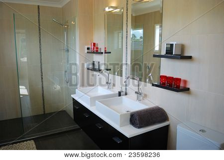 stylish bathroom interior with mirror and decoration