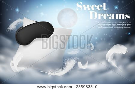 Vector 3d Realistic Illustration With White Pillow, Sleep Mask, Feathers, Isolated On Blue Night Bac