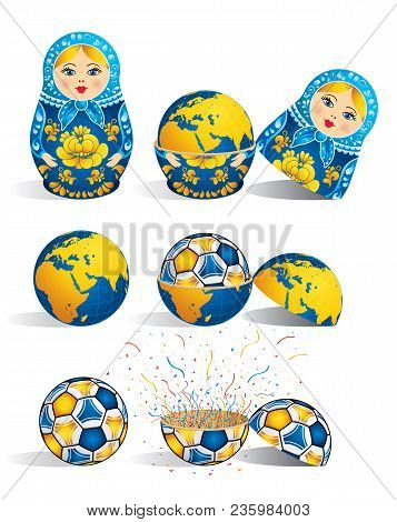 Matryoshka In Blue Color With A Planet Inside And Inside The World There Is Soccer Ball And Inside T