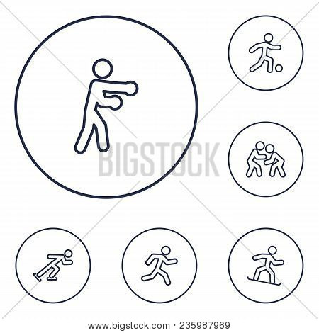 Set Of 6 Sport Icons Line Style Set. Collection Of Athletics, Wrestling, Football And Other Elements