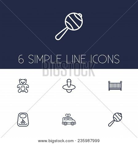 Set of 6 baby icons line style set. Collection of cot, breastplate, bus and other elements. poster