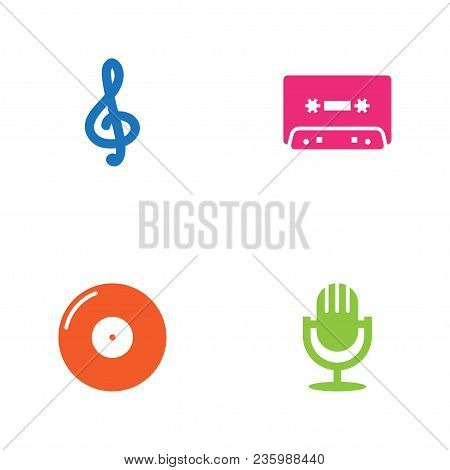 Set Of 4 Melody Icons Set. Collection Of Microphone, Treble Clef, Vinyl And Other Elements.