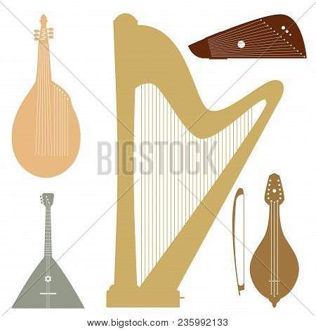 Stringed Dreamed Musical Instruments Classical Orchestra Art Sound Tool And Acoustic Symphony String
