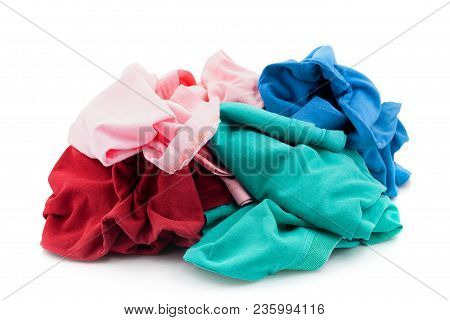 Pile Of Dirty Cloth Laundry Isolated On White Background