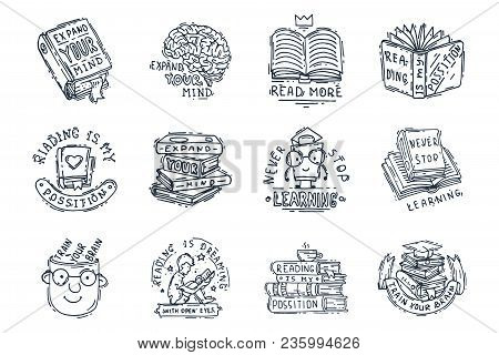 Love Reading Motivation Quote Phrases Badge Logo Bubble On Book Vector Illustration. Reading Motivat