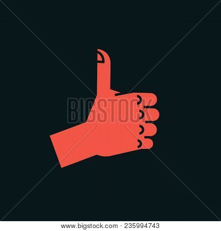 Gesture. Like Sign. Stylized Hand With Thumbs Up. Vector Illustration On A Dark Background. Icon. Ma