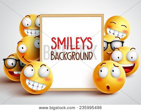 Smileys Vector Background. Yellow Emoticons With Funny And Happy Facial Expressions With Empty White