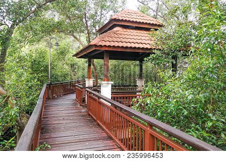 Scenic Walking Trail Along Melaka River. Malacca City Is Awarded  Unesco Heritage City For Its Rich