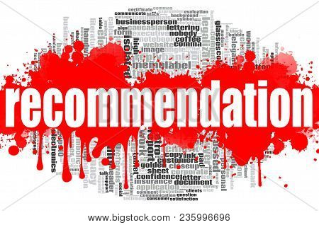 Recommendation Word Cloud Concept On White Background, 3d Rendering.