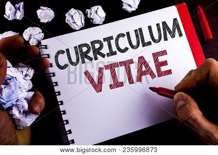 Writing Note Showing  Curriculum Vitae. Business Photo Showcasing Resume Preparation Design Template