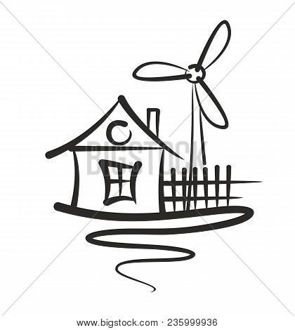 A Logo Of The Eco Friendly House With The Wind Generator.