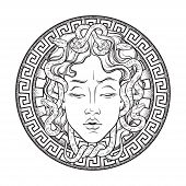 Medusa Gorgon head on a shield hand drawn line art and dot work tattoo or print design isolated vector illustration. Gorgoneion is a protective amulet poster