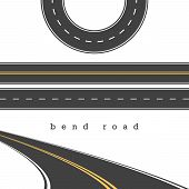Bend Road, Straight and Curved Roads Vector Set, Road Junction. Vector Illustration. White and Yellow Road Marking. Highway, Expressway. Abrupt Turn. Double Solid Yellow Line, Broken White Line. poster