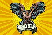 Owl holding in its talons the money. Comic book cartoon pop art retro vector illustration poster