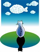 a vector illustration for a cat's dreams: clouds becomes a fish poster