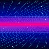 Retro neon background with 80s styled laser grid and stars from vintage arcade computer games poster