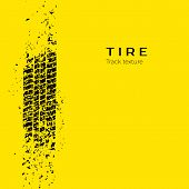Dirt track from the car wheel protector. Tire track silhouette. Grunge tire track. Black tire track. Vector illustration isolated on yellow background poster