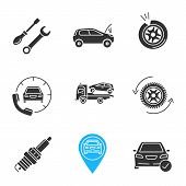 Auto workshop glyph icons set. Screwdriver and spanner, broken car, punctured tire, assistance, tow truck, wheel changing, spark plug, gps, total check. Silhouette symbol. Vector isolated illustration poster