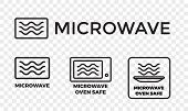 Microwave oven safe icon templates set. Vector isolated line symbols or labels for plastic dish food cookware suitable for safe warming and cooking in microwave oven isolated on white background poster
