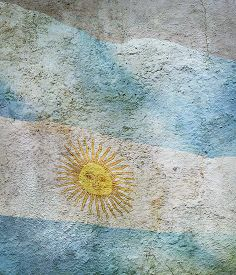 Stylized Image Of Flag Of Argentina Against The Old Wall Background