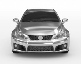 Car Isolated On White - Silver, Tinted Glass - Front View - 3d Rendering