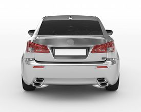 Car Isolated On White - Silver, Tinted Glass - Back View - 3d Rendering