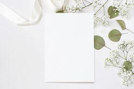 Styled Stock Photo. Feminine Wedding Desktop Stationery Mockup With Blank Greeting Card, Baby's Brea