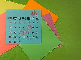 Image Of Calendar For July 2018 On Green Close-up