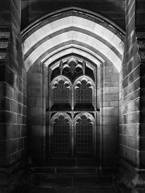 High-contrast Monochrome Detail Of Exterior Of Chester Cathedral By Night. Taken In Chester, England