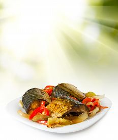 Isolated Image Of Plate With Fish Closeup