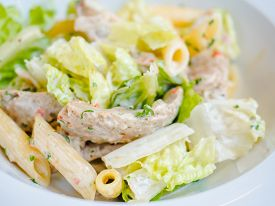 Pasta With Iceberg Salad, Caesar Sauce And Chicken