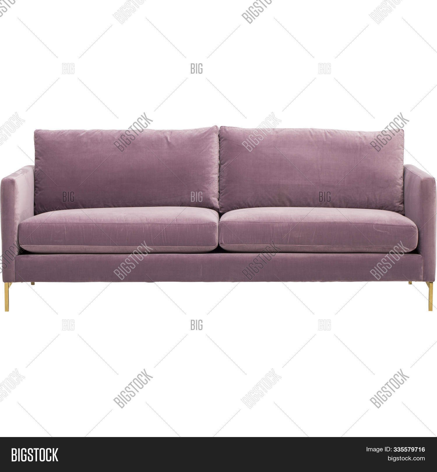 Pink Color Sofa Is Isolated On White Background