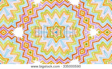 Colorful Geometric Watercolor. Dazzling Seamless Pattern. Hand Drawn Stripes. Brush Texture. Awesome