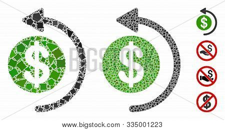 Cashback Mosaic Of Tuberous Pieces In Variable Sizes And Color Tones, Based On Cashback Icon. Vector