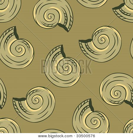 Seamless hand drawn texture of shells. Vector Illustration.