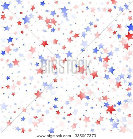 American Memorial Day Stars Background. Holiday Confetti In Usa Flag Colors For Patriot Day.  Solemn