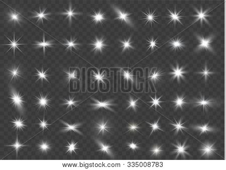 The Light Of A Star. Star Glow On A Transparent Background Explodes On A Transparent Background. Whi