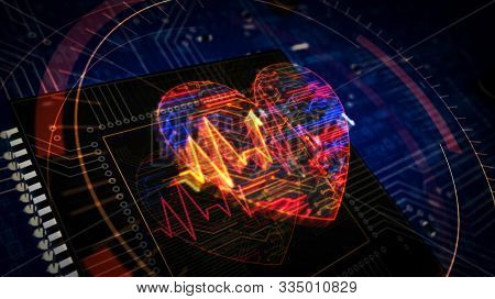Cyber Heart Pulse Futuristic 3d Rendering Illustration. Concept Of Romance, Love, Health, Medicine A