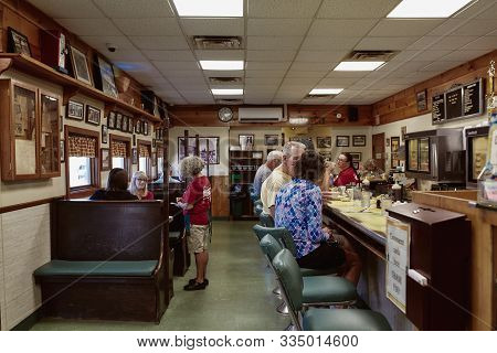 Waldoboro, Maine - September 26th, 2019:  Interior Of Moodys Diner, A Classic Old School New England