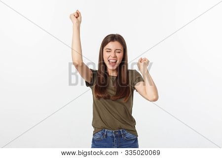 Winning Success Woman Happy Ecstatic Celebrating Being A Winner. Dynamic Energetic Image Of Caucasia