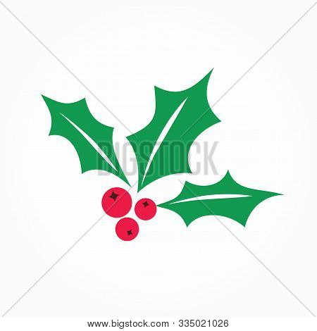 Holly Berry Vector Icon. Merry Christmas Symbol Illustration Isolated On White. Flat Red Mistletoe B