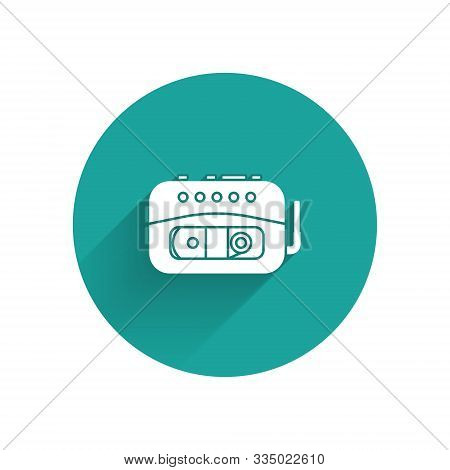 White Music Tape Player Icon Isolated With Long Shadow. Portable Music Device. Green Circle Button.